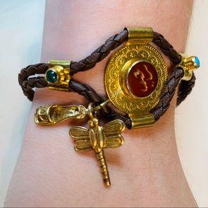 Brown rope & silver bracelet semi-precious stone